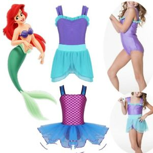 Kids Girls Ballet Dress Gymnastics Leotard Mermaid Tutu Skirt Dancing Costume