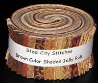 "Brown Color Shades Jelly Roll Fabric - Jelly Roll 34 Fabric Strips 2.5"" Wide"