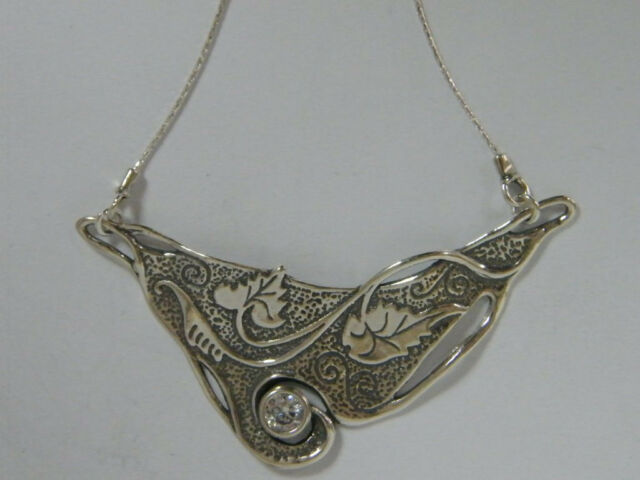 N02493CW SHABLOOL ISRAEL Didae 925 Sterling Silver Nature Inspired Necklace