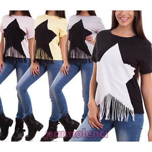 Maglia-donna-maglietta-t-shirt-maniche-corte-stella-frange-sexy-nuova-CJ-2113