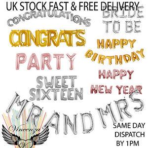Ballons-Grande-Lettre-Ballons-Or-Argent-amp-Rose-Felicitations-Fete-16-034-40-034-UK