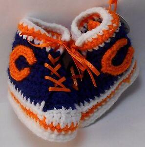 Custom Design Handmade Crochet BAYLOR BEARS FOOTBALL High Tops Baby Booties