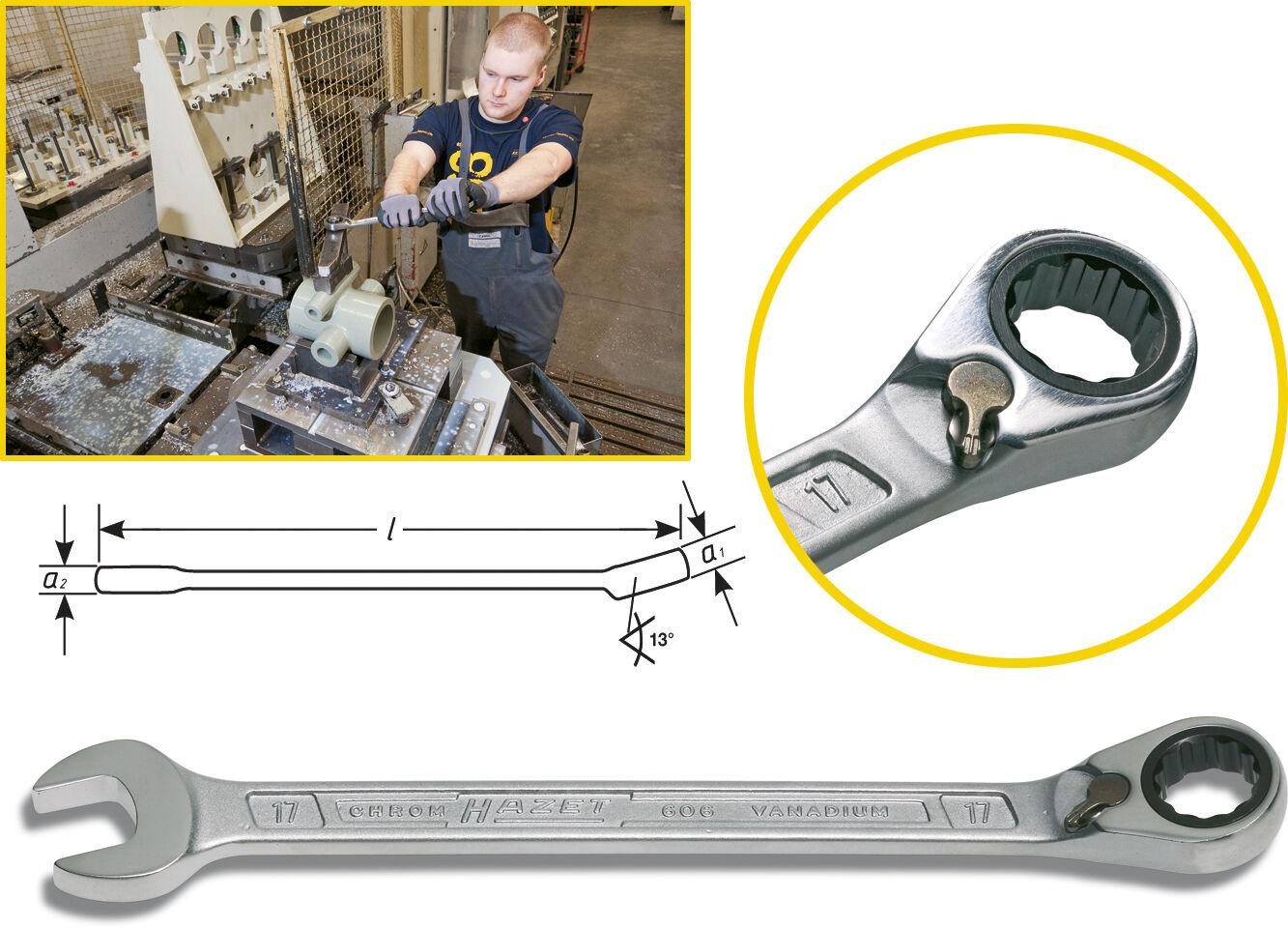 HAZET 606 Ring-Maul-Ratschenschlüssel alle Größen von 8 - 32mm KNARREN-RING-MAUL