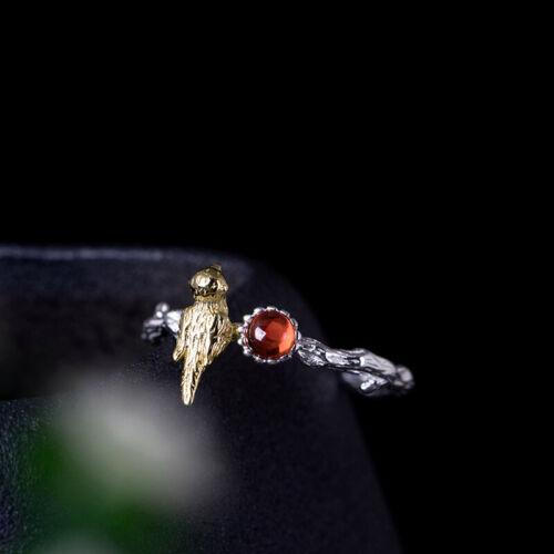 Femmes Bague Oiseau vraiment Sterling Argent 925 Grenat couleur or rouge ouverte