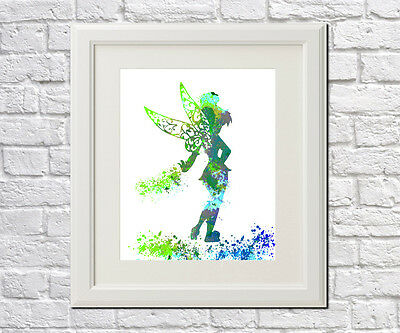 Tinker Bell Art Print Disney Princess Poster Cartoon Character Peter Pan Fairy