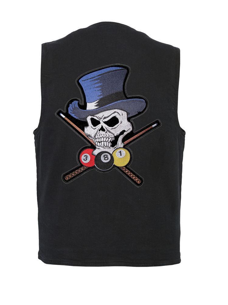 Herren Concealed Carry Denim Vest W Billiards Skull And Top Hat Patch