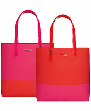 Lancome Red & Pink Color Block Striped Tote Bag Handbag Travel Carryon NIP Macy