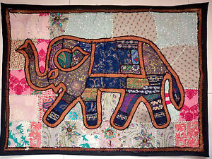 Elephant-Tapestry-Patchwork-Wall-Hanging-Embroidered-Handmade-Bohemian-Vintage