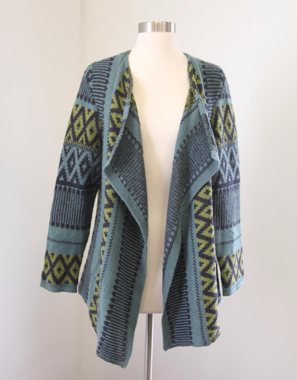 J Jill bluee Green Open Front Draped Cardigan Sweater Alpaca Wool Size PM MP