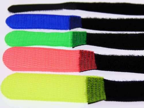 50 Serre-câbles Velcro Bandes 16 cm x 16 mm 5 Couleurs kabelklettband Fermeture Velcro
