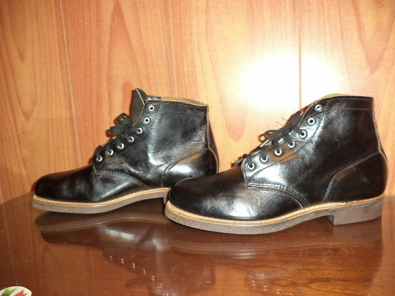 VTG MEN BEARFOOT 60'S  70'S  ANKLE Stiefel LEATHER schwarz Größe 9 EE