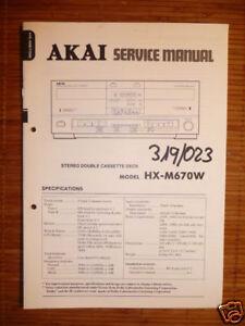 Service Manual Akai Hx-m670w Tape Deck,original Tv, Video & Audio