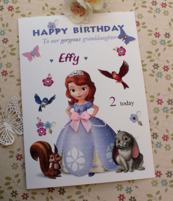 Personalised Handmade Birthday Card Daughter Niece Cousin Sister Sofia The First