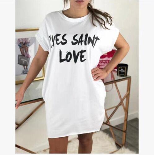 New Ladies /'Yves Saint Love/' Slogan Print Oversized Baggy T-shirt Mini Dress Top