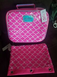 Lunchbox and Pencil Case Justice Mermaid Scales Sequin Backpack NWT