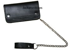 New Men's Black Biker Genuine Leather Motorcycle Wallet with Long Metal Chain