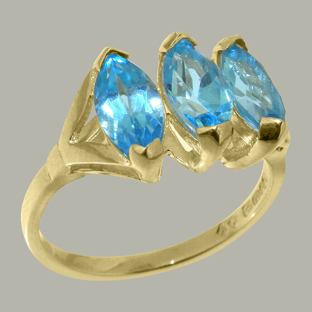 Solid 18k Yellow gold Natural bluee Topaz Womens Trilogy Ring - Sizes 4 to 12