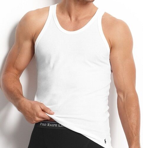 fee34c30d77d7 Polo Ralph Lauren Mens Classic Fit Ribbed Tank Tops 3 PK Small Undershirts  White for sale online