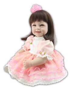 22 Reborn Baby Girl Doll Vinyl Lifelike Newborn Long Hair Lovely