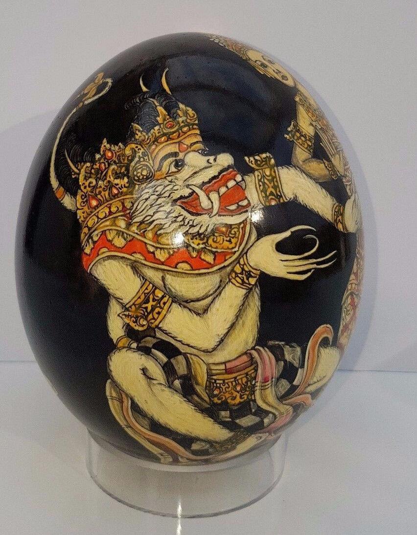 Original Wayang Malerei Miniatur Bali Straußenei Ei Egg Handgemalt Lupenmalerei