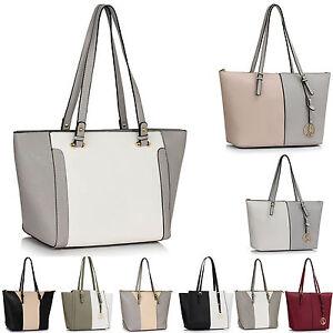 LeahWard Women/'s Two Tone Shoulder Bags Handbag School Bag A4 Shopper 497 496