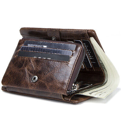 Men Genuine Leather Trifold Wallet Cash Card Holder Zip Coin Pocket Bifold Purse