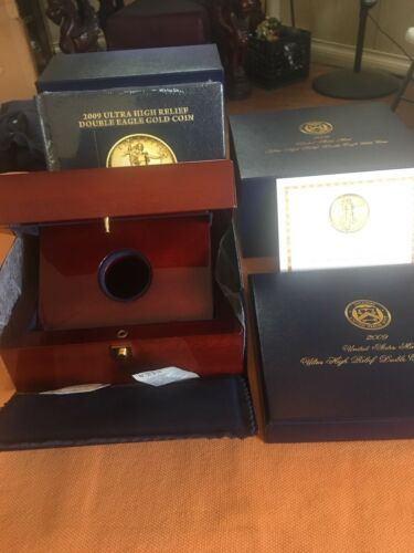 "2009 ULTRA HIGH RELIEF DOUBLE EAGLE $20 GOLD MAHOGANY WOOD BOX/&BOOK/&COA/""NO COIN/"""