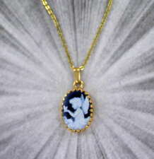Angel Agate Cameo Necklace Pendant in 14kt. Rolled Gold with chain