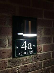 MODERN HOUSE SIGN PLAQUE DOOR NUMBER GLASS ACRYLIC ALUMINIUM SOLAR LIGHT