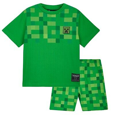 2 Piece Boys Short Pyjamas with Creeper Design Minecraft Boys Pyjamas Official Merchandise Gifts for Boys Teens Age 5-14 100/% Cotton Boys Clothes