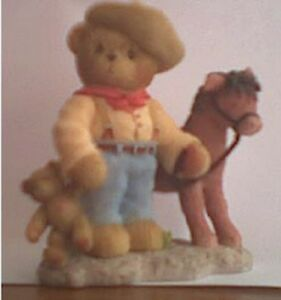 CHERISHED-TEDDIES-ROOSEVELT-Cowboy-With-Horse-2002-Events-Figurine-V-Rare