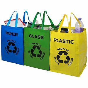 lot de 3 recyclage recyclage sacs code couleur plastique verre papier rangement poubelle sac ebay. Black Bedroom Furniture Sets. Home Design Ideas