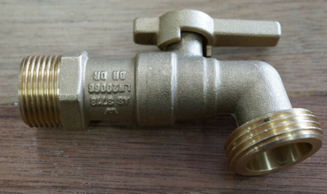 """Hose Tap 1/4 Turn Ball Valve 20mm 3/4"""" Suits 25mm Tap Fittings Lever Handle Cock"""