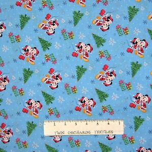 Disney Christmas Fabric By The Yard.Details About Christmas Fabric Disney Mickey Minnie Mouse Tree Toss Blue Springs Yard