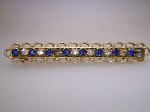 ANTIQUE-1920-039-S-GOLD-WASHED-FILIGREE-W-TBRILLIANT-FOILED-RHINESTONE-BAR-PIN