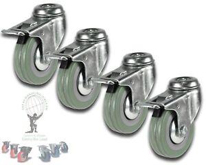 4x 50mm Castors: Garment Speakers Cabinet Braked castor Bolt Hole M10