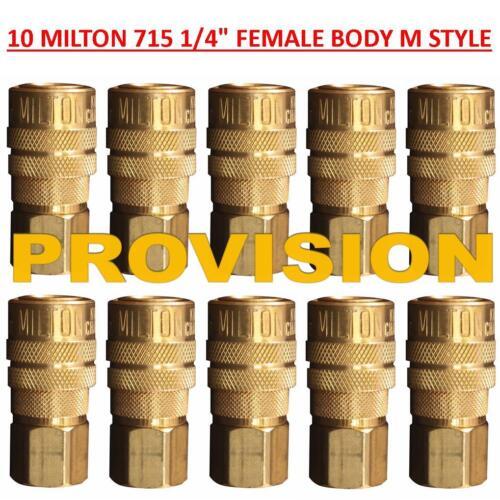 10 Pieces 1//4 Inch Female Milton 715 10-Milton S-715 M-Style Quick Coupler