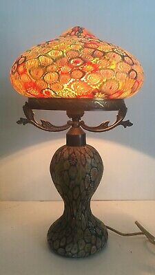 Vintage Millefiori Glass Mushroom Shaped Lamp With Glass Shade And Base Ebay