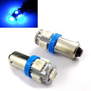 2-X-BLUE-BA9S-T4W-1895-Miniature-Bayonet-Blue-LED-Light-Globes