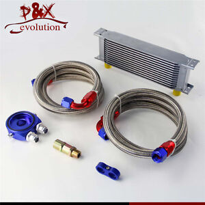 13 Row AN10 Universal Engine Oil Cooler w/ Oil Lines + Filter Adapter Blue