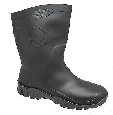 Mens Waterproof Wellington Boots / Black PVC Slip On Dunlop Dee Sizes 6 to 12