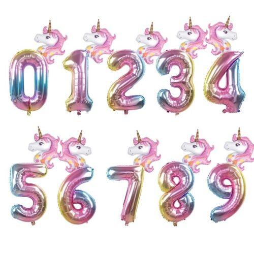 "32/"" Rainbow Unicorn Number Foil Balloon Kids Age Birthday Unicorn Party Decor"