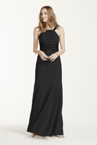 David's Bridal Black Chiffon and Charmeuse Dress with Rounded Neckline- Size 4