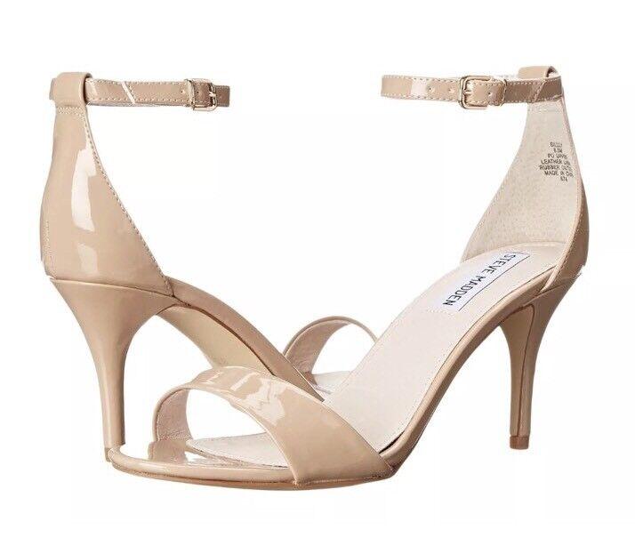 Steve Madden Silly Ankle Strap Patent Pelle Sandal Nude Sz 9 M 4559