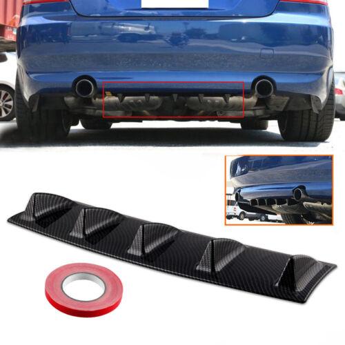 Universal Carbon Fiber Look Lower Shark 5 Fin Rear Body Bumper Diffuser Kit