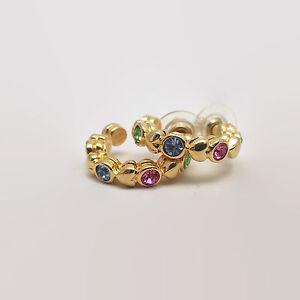 Gold-Tone-Pastel-Rhinestone-Hoop-Earrings-Signed
