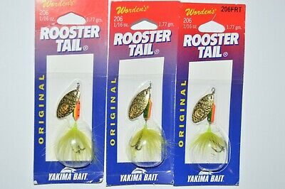 3 lures wordens rooster tail trout spinners 1//16oz black gold blade