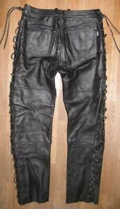 """ SHOEI "" Damen-  Schnür- LEDERJEANS / Biker- Lederhose in schwarz ca. Gr. 42"