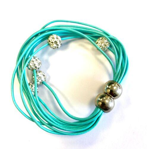 Ladies Leather Bracelet Girls Bangle Diamante Crystal Magnetic Wrist Band