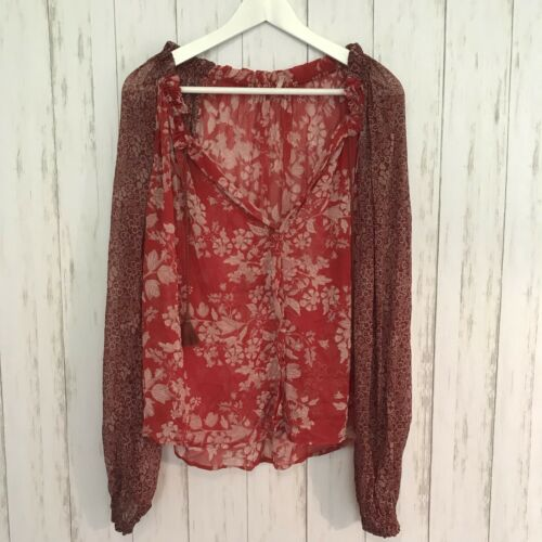 Sheer Sleeve Button People Long Xs Tassle Red Free Blouse Floral p6vxxO
